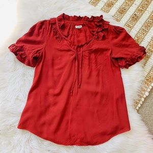 Anthropologie Odille ruffle red blouse